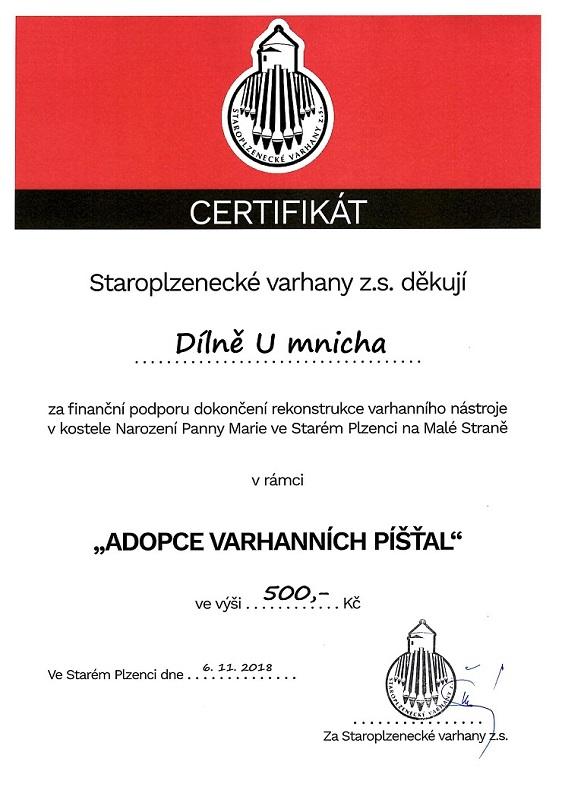 Certifikát - dílna U Mnicha varhanym